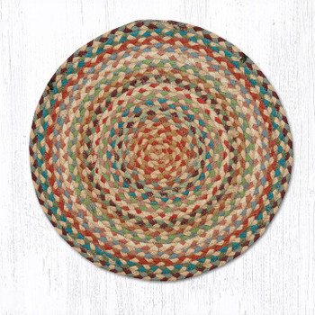 "15.5"" Multi Colored Braided Jute Chair Pad, Set of 2"