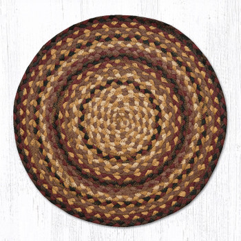 "15.5"" Black Cherry Chocolate Cream Braided Jute Chair Pad, Set of 2"