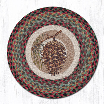 "15.5"" Pinecone & Branch Braided Jute Chair Pad, Set of 2"