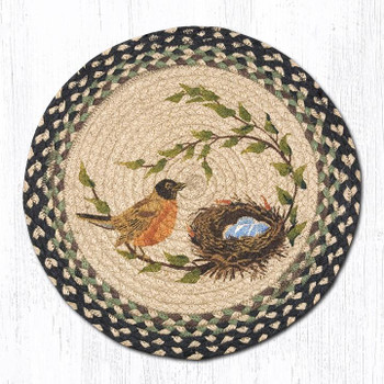 "15.5"" Robins Nest Braided Jute Chair Pad, Set of 2"