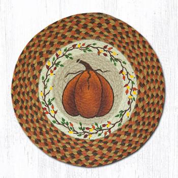 "15.5"" Harvest Pumpkin Braided Jute Chair Pad, Set of 2"