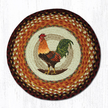 "15.5"" Morning Rooster Braided Jute Chair Pad, Set of 2"