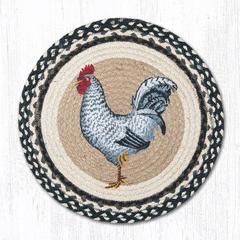 "15.5"" Black and White Rooster Bird Braided Jute Chair Pads, Set of 2"