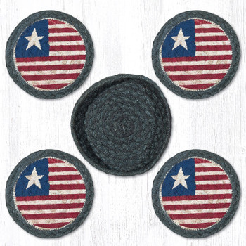Original Flag Braided Jute Coasters and Basket Holder, Set of 10