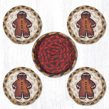 Gingerbread Men Braided Jute Coasters and Basket Holder, Set of 10