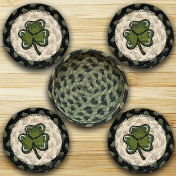 Shamrock Braided Jute Coasters and Basket Holder, Set of 10