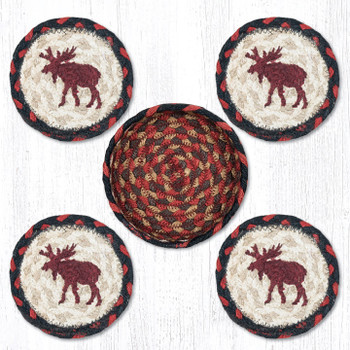 Moose Braided Jute Coasters and Basket Holder, Set of 10