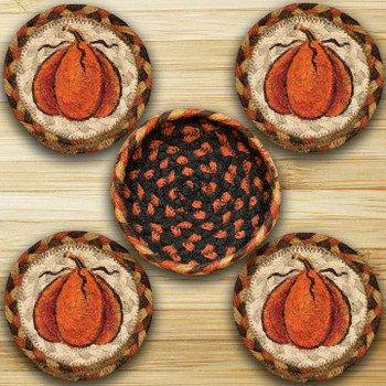 Harvest Pumpkin Braided Jute Coasters and Basket Holder, Set of 10