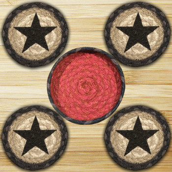 Star Braided Jute Coasters and Basket Holder, Set of 10
