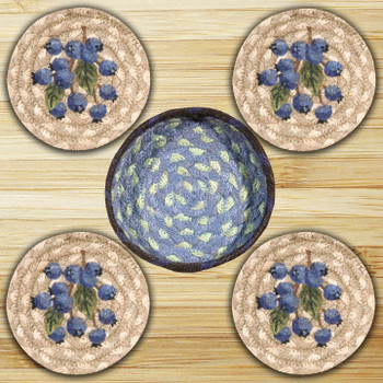 Blueberry Braided Jute Coasters and Basket Holder, Set of 10
