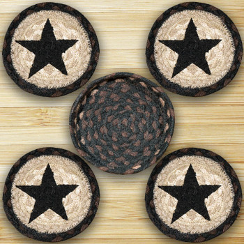 Black Star Braided Jute Coasters and Basket Holder, Set of 10