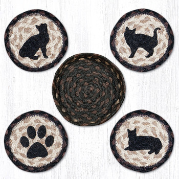 Porch Cat Braided Jute Coasters and Basket Holder, Set of 10