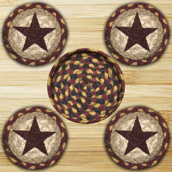 Burgundy Star Braided Jute Coasters and Basket Holder, Set of 10
