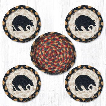 Black Bear Braided Jute Coasters and Basket Holder, Set of 10