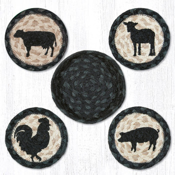 Barnyard Animals Braided Jute Coasters and Basket Holder, Set of 10