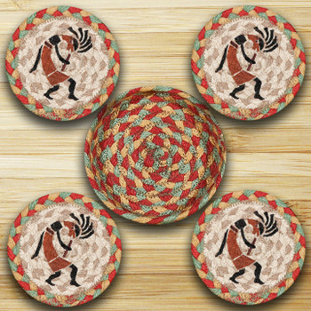Kokopelli Braided Jute Coasters and Basket Holder, Set of 10