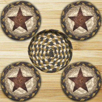 Rustic Star Braided Jute Coasters and Basket Holder, Set of 10