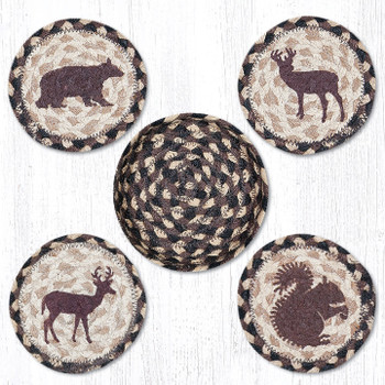 Wildlife Braided Jute Coasters and Basket Holder, Set of 10