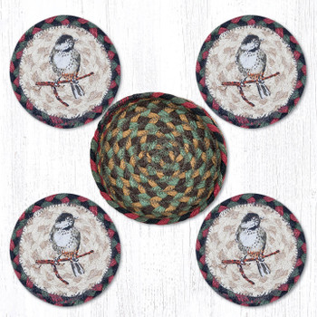 Chickadee Bird Braided Jute Coasters and Basket Holder, Set of 10