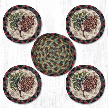 Pinecone Braided Jute Coasters and Basket Holder, Set of 10