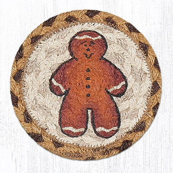 Gingerbread Man Braided Jute Coasters, Set of 8