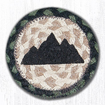 Mountain Silhouette Braided Jute Coasters, Set of 8