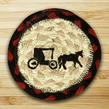 Amish Buggy Braided Jute Coasters, Set of 8