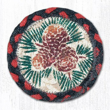 Rustic Pinecones Braided Jute Coasters, Set of 8