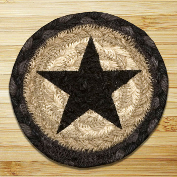 Black Star Braided Jute Coasters, Set of 8