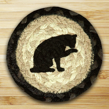 Cat Licking Paw Braided Jute Coasters, Set of 8