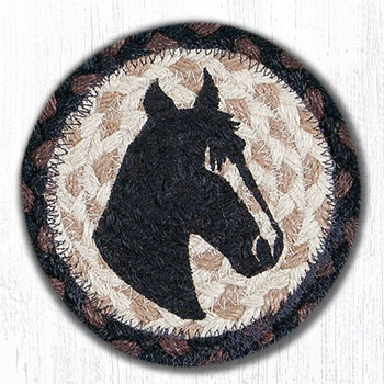 Horse Head Portrait Braided Jute Coasters, Set of 8
