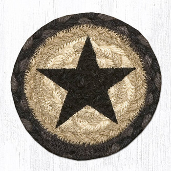 Rustic Black Star Braided Jute Coasters, Set of 8