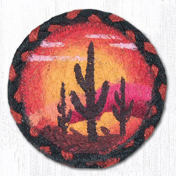 Desert Sunset Braided Jute Coasters, Set of 8