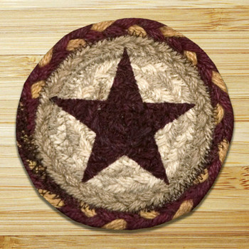 Burgundy Star Braided Jute Coasters, Set of 8