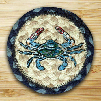 Blue Crab Braided Jute Coasters, Set of 8