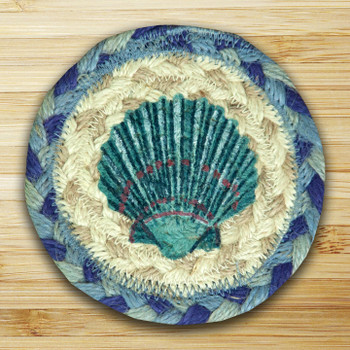 Blue Scallop Shell Braided Jute Coasters, Set of 8