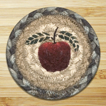 Apple Braided Jute Coasters, Set of 8