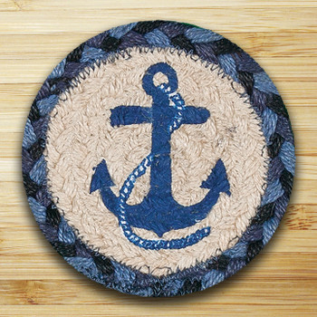 Blue Navy Anchor Braided Jute Coasters, Set of 8