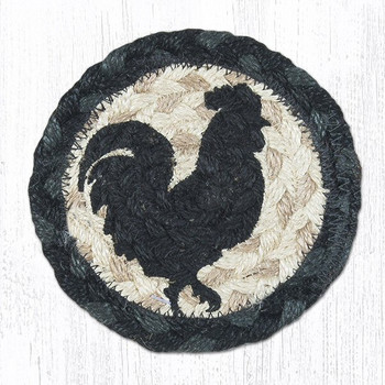 Rooster Silhouette Braided Jute Coasters, Set of 8