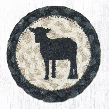 Sheep Silhouette Braided Jute Coasters, Set of 8
