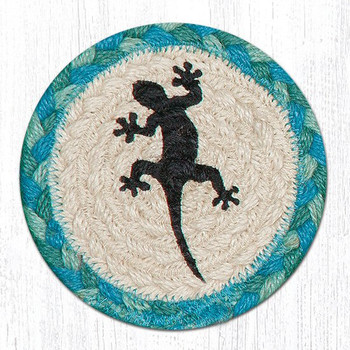 Gecko Lizard Braided Jute Coasters, Set of 8
