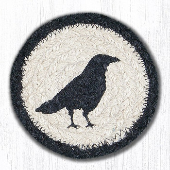 Crow Bird Braided Jute Coasters, Set of 8