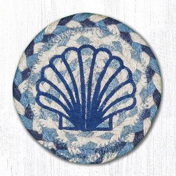 Blue Scallop Braided Jute Coasters, Set of 8