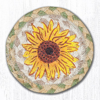 Sunflower Braided Jute Coasters, Set of 8