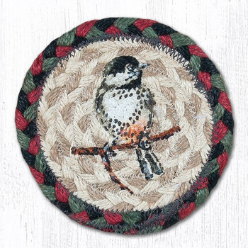 Chickadee Bird Braided Jute Coasters by Sandy Clough, Set of 8