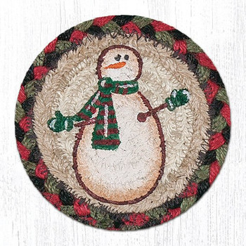 Snowman Braided Jute Coasters, Set of 8