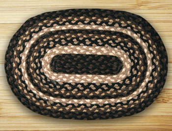 Mocha Frappuccino Braided Jute Oval Placemat, Set of 2