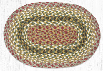 Olive Burgundy Gray Braided Jute Oval Placemat, Set of 2
