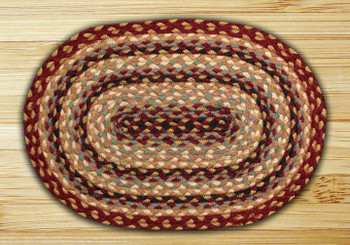 Burgundy Gray Cream Braided Jute Oval Placemat, Set of 2
