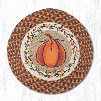 Harvest Pumpkin Braided Jute Round Placemats by Susan Burd, Set of 2